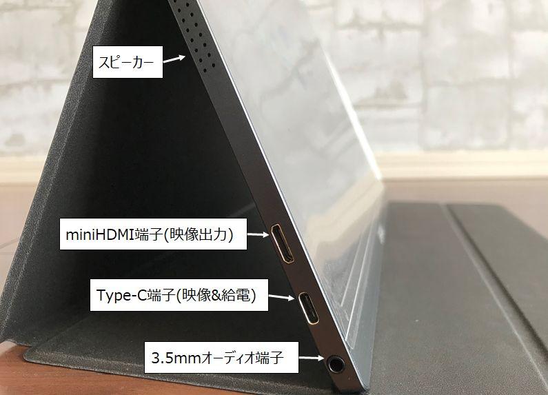 Lepowのモバイルモニター(ディスプレイ)15.6インチの端子説明