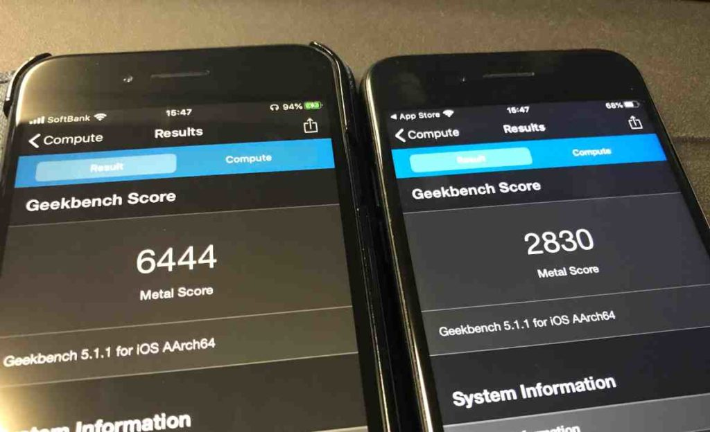 iPhone 7とiPhone SE(第2世代)の処理速度比較