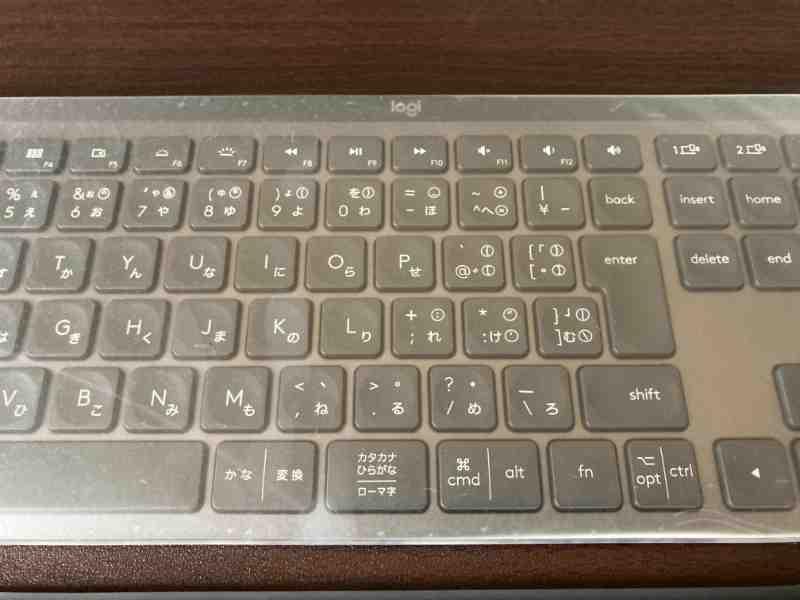 KX800 MX KEYSのキーボードカバーはフルフラットで凹凸がない