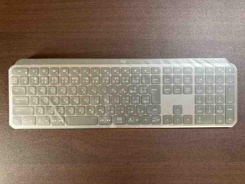 KX800 MX KEYS用のフルフラットキーボードカバー装着後